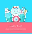 cartoon teeth hygiene stickers vector image
