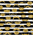 Gold moustache seamless pattern on white bacground vector image
