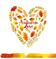 Heart of watercolor Autumn leaves vector image