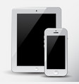modern white digital tablet pc with mobile white vector image