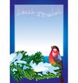 Christmas frame with bullfinch vector image vector image