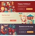 Christmas flat design website banners vector image