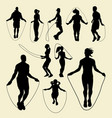 jump rope sport activity silhouette vector image vector image