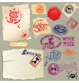 Collection of holiday mail design elements - postm vector image