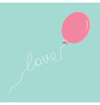 Pink oval balloon with love thread Flat design vector image