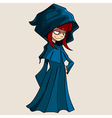 Cartoon girl in a raincoat with a hood vector image