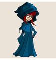 Cartoon girl in a raincoat with a hood vector image
