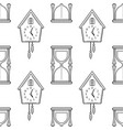 hourglass and cuckoo clock black and white vector image