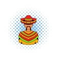 Mexican man icon comics style vector image