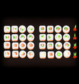 set of tasty sushi rolls with tobiko caviar vector image