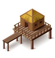 stilt house isolated vector image
