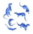 watercolor silhouettes of a otter vector image