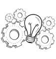 doodle idea gears lightbulb vector image