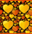 low poly background with hearts vector image