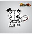 Helloween evil dog voodoo doll pop art comic vector image