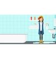 Woman in despair standing near leaking sink vector image