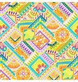 Seamless asian ethnic floral retro doodle vector image