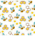 cute bees and honey comb cells seamless pattern vector image