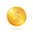 golden coin dollar sign symbol isolated vector image