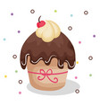 happy birthday card with cupcake vector image