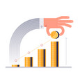 male hand stacks up golden coins vector image