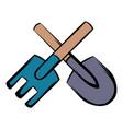 spade and pitchfork icon cartoon vector image