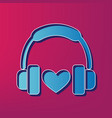 headphones with heart  blue 3d printed vector image