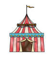 striped strolling circus marquee tent with flag vector image