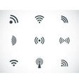 black wireless icons set vector image