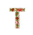 christmas floral tree letter T vector image