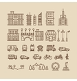 Line elements of city Buildings houses trees vector image vector image
