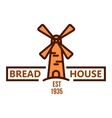 Bakery and pastry shop badge with vintage windmill vector image