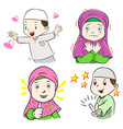 collection of muslim kids cartoon vector image