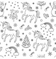 pattern with unicornstreesbirdssnowmen vector image