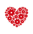 red heart shape with pinions and gears set vector image