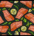seamless pattern of salmon fillet lemon vector image