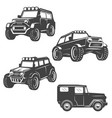 set of off road cars icons isolated on white vector image