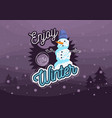 winter card design with a snowman with a wool hat vector image