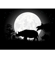 Rhino silhouettes with giant moon background vector image vector image