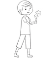 Outline boy with flower vector image