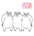 3 pig coloring book Three Little Pigs in linear vector image