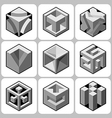cube icon set 9 vector image vector image