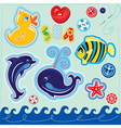 Set of buttons cartoon animals and word SEA vector image