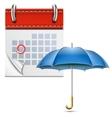 Loose-leaf Calendar With Open Umbrella vector image vector image