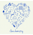 i love chemistry doodles in heart vector image vector image