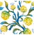 Watercolor art nouveau artichoke pattern vector image