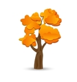 A stylized drawing of a yellow autumn oak vector image