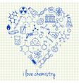 i love chemistry doodles in heart vector image