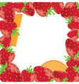 strawberry frame with oranges vector image
