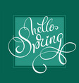 hello spring words on green background frame vector image